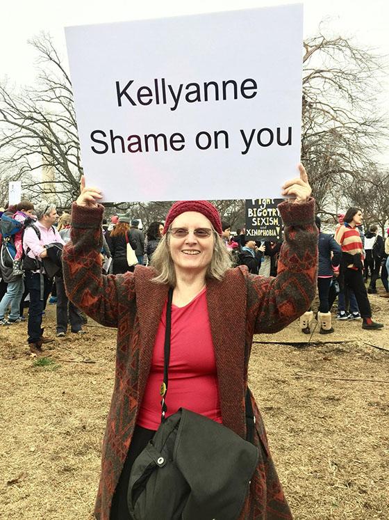 Ellen Landau with Sign small